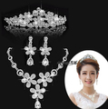2016 Fashion flower bridal tiara necklace earrings set 3-pieces wedding brides jewelry set crystal vintage accessories