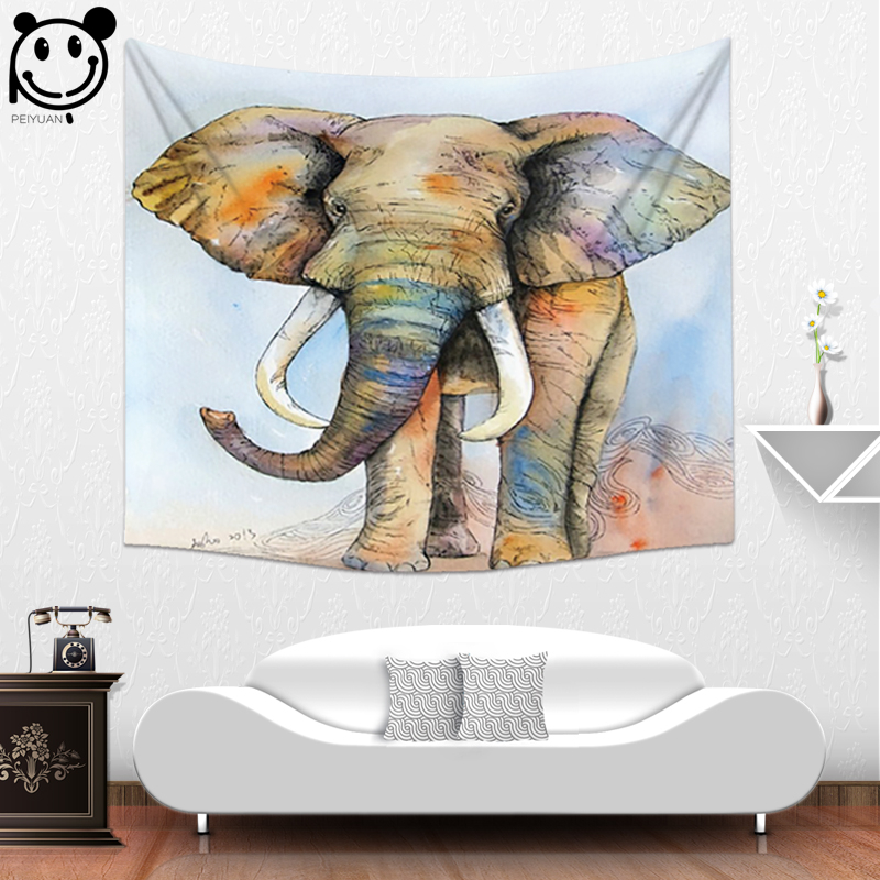 Peiyuan Custom Printed Animal Colorful Mandala Elephant Polyester Curtain african elephant