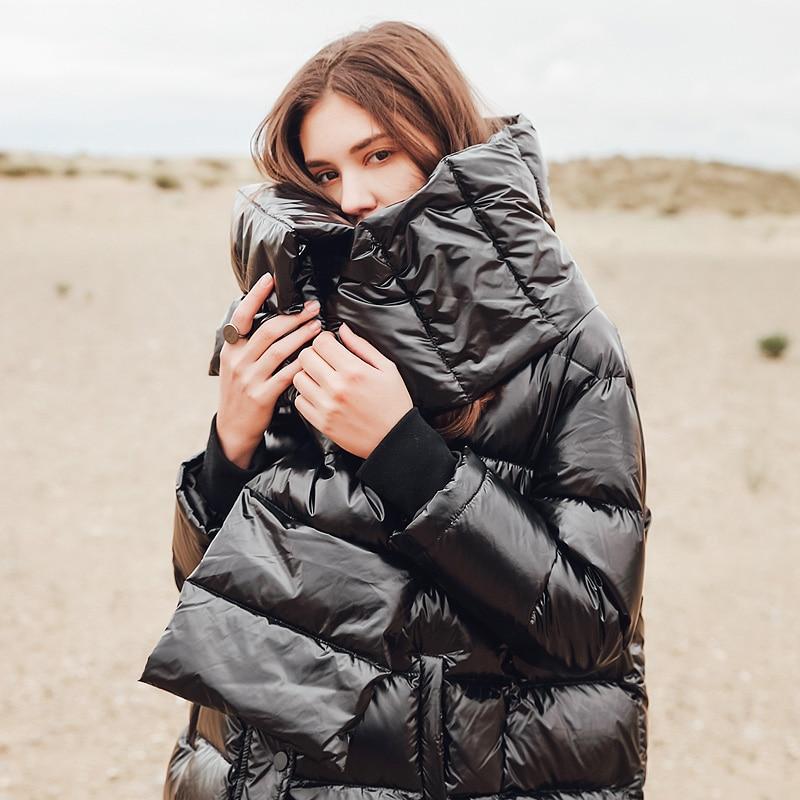 Женская зимняя куртка 2018 Новая модная свободная парка женское пуховое зимнее пальто теплая куртка Женское пальто с шарфом 175823