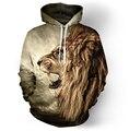 Толстовка Осень/Зима Повседневная животных толстовки 3D лев толстовка печати львиная голова хип-хоп пуловеры толстовки street wear 21 стиль