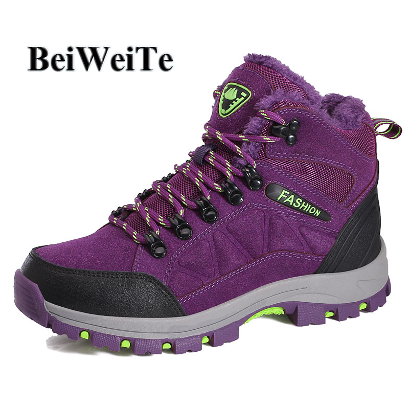 Women High Top Hiking Shoes Plus Fur Warm Suede Winter Sneakers For Women Snow Walking -4860