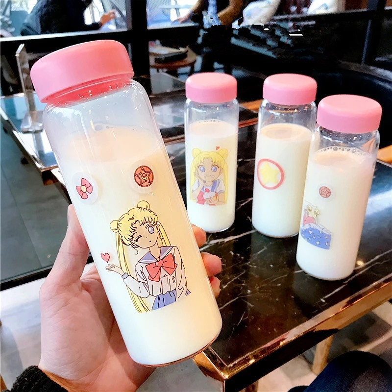 Sailor Moon Anime Action Figure Printed Glass Long Student Lovely Cartoon Portable Water Tumbler 450ml Transparent Drinking Cup