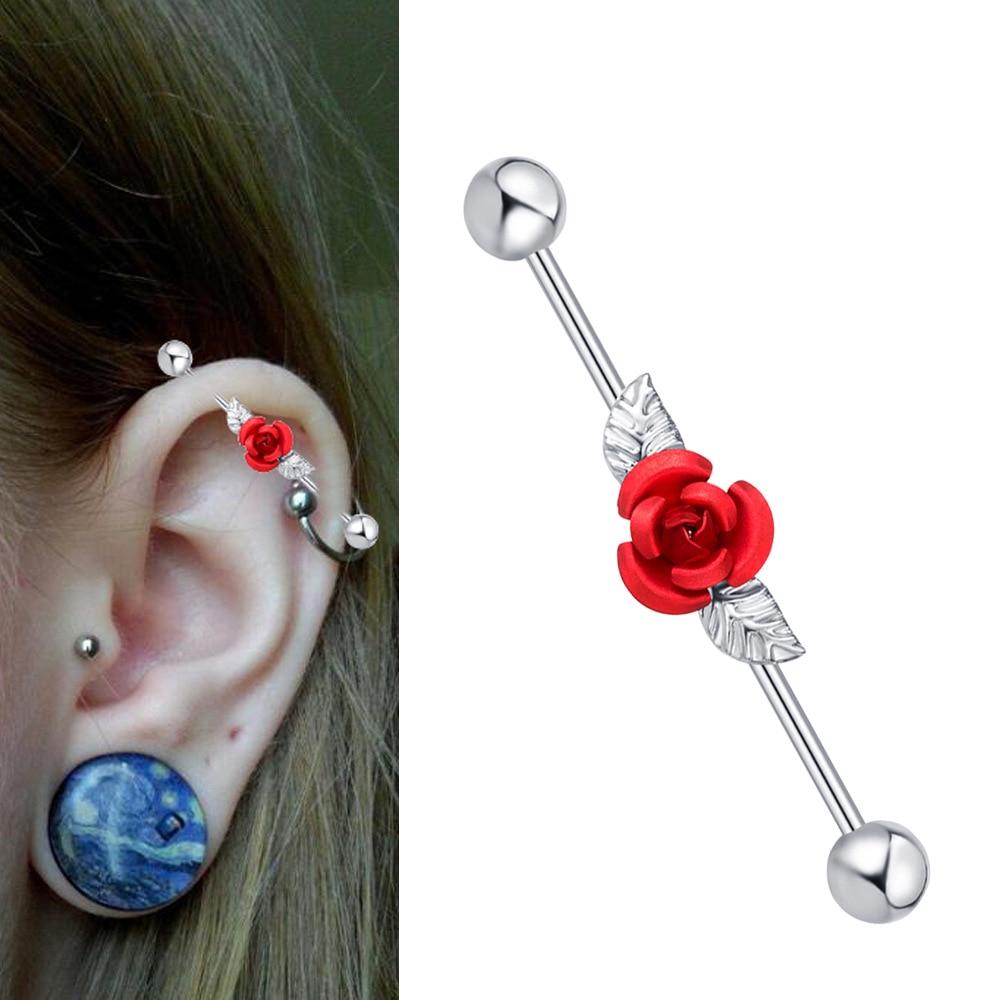 Stainless Steel Industrial Barbell Piercing Jewelry Earring Ear Bone Earring