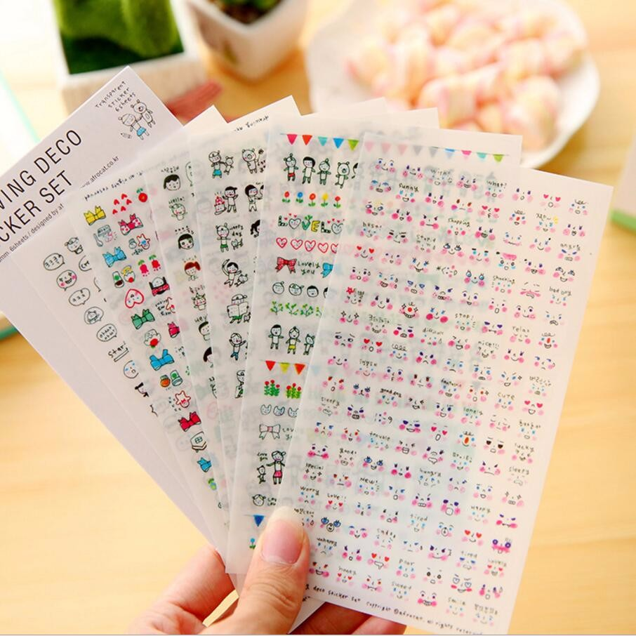 6 Sheet New DIY Cute Lovely Paper Stickers For Diary Scrapbook Book Wall Decor For Kids Decoration*Cartoon Scene