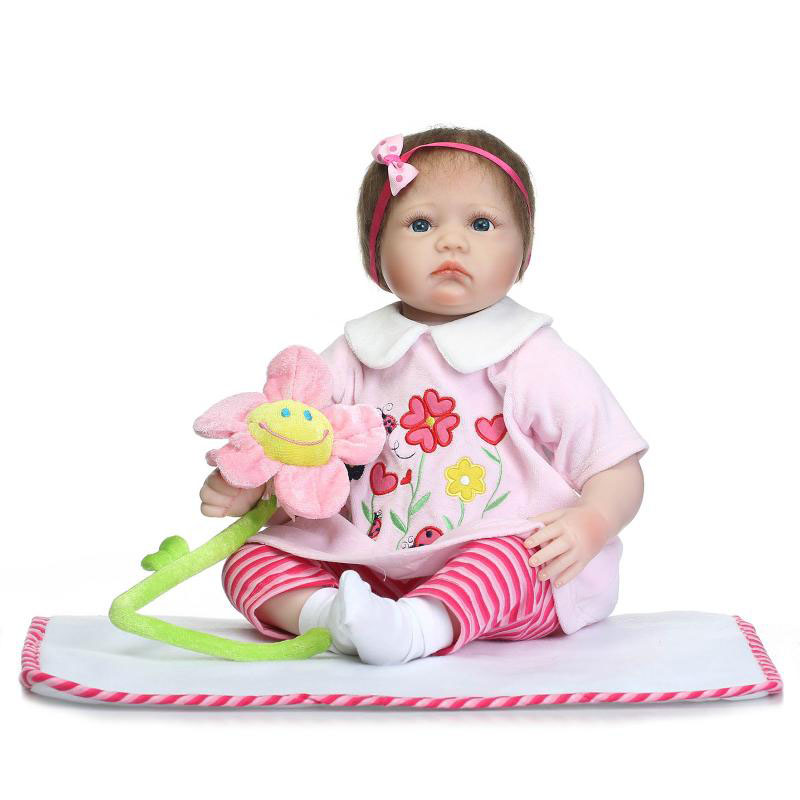 Lovely Lifelike 22'' Reborn Baby Doll with Flower Clothes Soft Silicone Fashion Dolls Hair Rooted Reborn Baby For Sale Xmas Gift smile reborn girl with blue dress 22 lifelike baby dolls soft silicone fashion kids toy xmas gifts reborn baby doll for sale