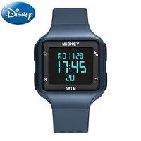 Disney Mickey Children Digital Sports Watch Boy 5 Bar Waterproof Clock Child Rubber Band Week Date Display Alarm Student Watches