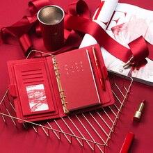 Кожаный переплетный спиральный офисный бизнес-блокнот высокого качества с 6 отверстиями дневник модный планировщик
