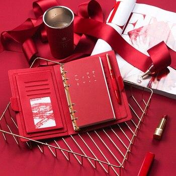Кожаный Блокнот со спиральными листочками для офиса и бизнеса, высококачественный блокнот для встреч, дневник с 6 отверстиями, модный плане...