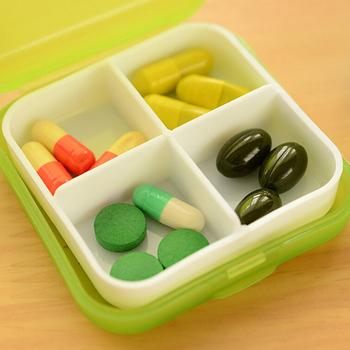Przenośny 4-gniazdowy apteczka plastikowe opakowanie na leki pudełka na leki pojemnik na pojemnik medycyna uchwyt na Tablet 4 kolory tanie i dobre opinie YOVIP CN (pochodzenie) Przypadki i rozgałęźniki pigułka Plastic Medicine Case Organizer