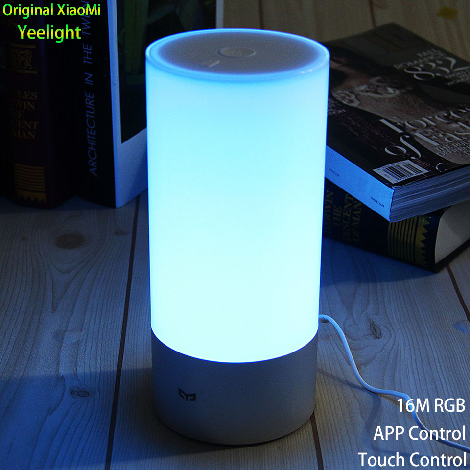 Original Xiaomi Yeelight Touch Control Smart Night Lights 16 Million RGB Indoor Bedroom LED Desk Lamp With Phone App Control 2016 yeelight original smart night lights indoor bedside lamp 16 million rgb lights touch control bluetooth for phone xiaomi