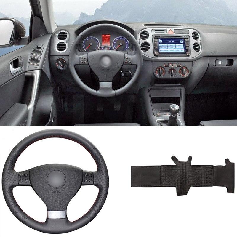 Couvre-volant en cuir PU à coudre bricolage convient parfaitement à VolksWagen Golf 5 Mk5 Passat B6 Mk5 Tiguan 2007-2011