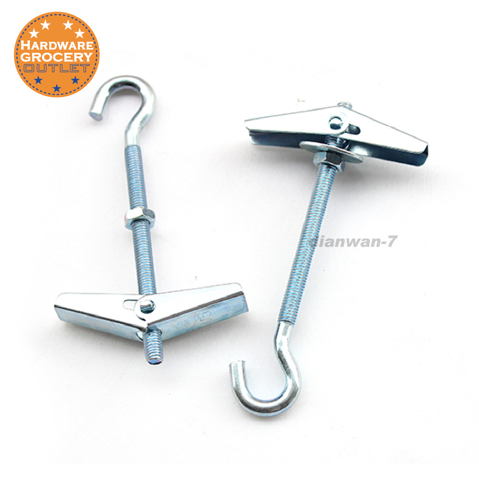 Us 6 25 Off M4x52 Carbon Steel Plasterboard Ceiling Wall Spring Toggle Hook Bolts Hanger With Threaded Hooks 3 Pcs In