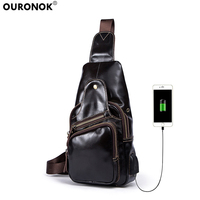OURONOK 2018 Real Cow Leather Men's Bag Cowhide Retro Male Messenger Shoulder Crossbody Chest Pack USB Charging Earphone Ports