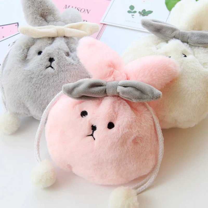 LJQEAST New Woman Travel Organizer Cute Plush Girl Makeup Pouch Rabbit Handbag Cosmetics Storage Bag  Portable Purse Pocket