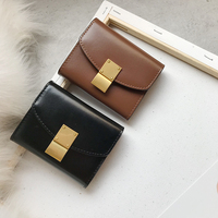 Patent Hardware Flower Wallet Quality Short Womens Wallet Button&Zipper Small Women's Leather Wallets Special