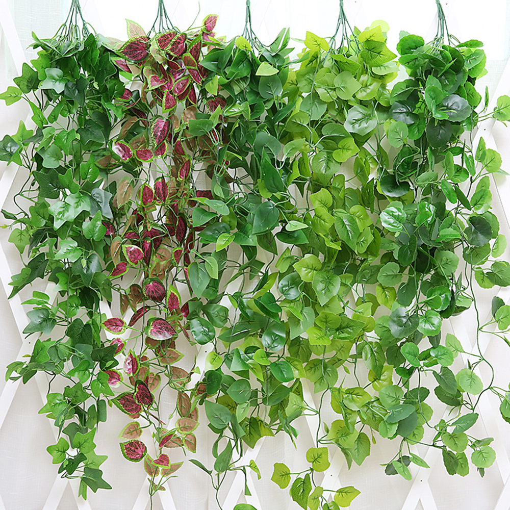 110cm Artificial Vine Plants For Home Room Garden Decor Artificial Flowers Plant Green Wall Hanging Silk Leaves Wedding Decor