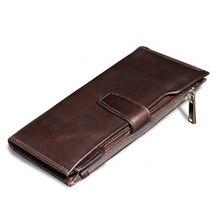 Brand Soft Genuine Cow Leather Wallet Men Fashion Cool Long Slim Coin Purse Handmade Design Card Holder