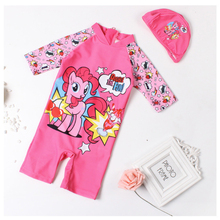 1~7Years Girs swimwear New 2019 Girls swimsuit one piece Horse style Children #8217 s swimwear Baby girls surfing suit with Hat-ST123 cheap XABER KIN Polyester spandex Fits true to size take your normal size cartoon One Pieces one piece swimwear with hat 1year to 6years girl