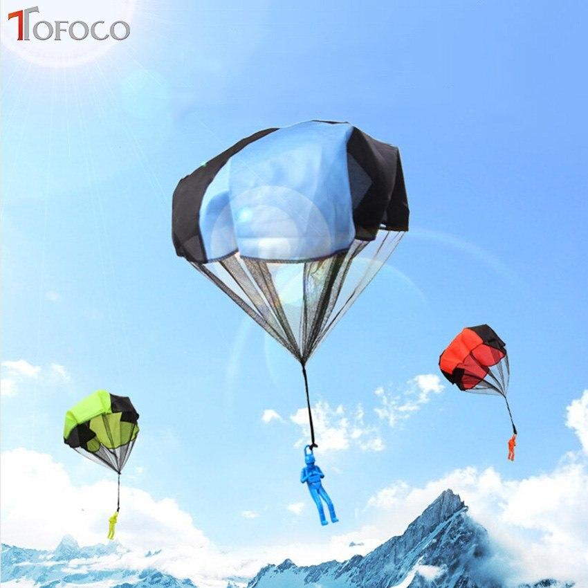TOFOCO Mini Kinder Fallschirm Hand Werfen Fallschirm Spielzeug Spielen Outdoor Game sport Kinder Pädagogisches Spielzeug Mit Figur Soldat