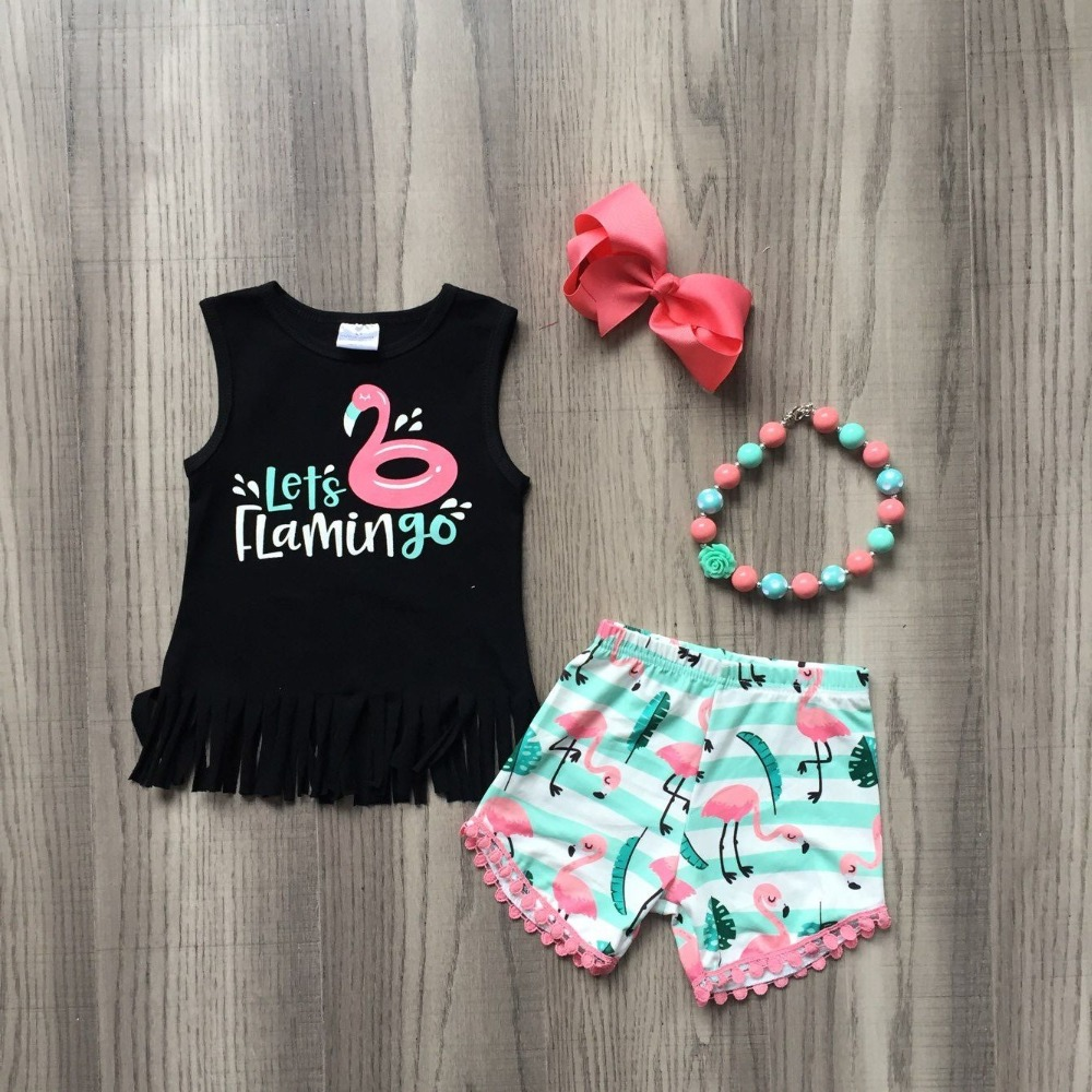 baby girls summer outfits kids girls LETs flamingo summer outfits girls top with flamingo shorts clothes with accessoriesbaby girls summer outfits kids girls LETs flamingo summer outfits girls top with flamingo shorts clothes with accessories