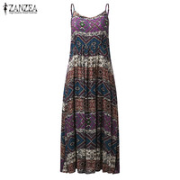 ZANZEA Bohemian Summer Beach Vintage Print Maxi Long Dress 2017 Casual Sleeveless Loose Dresses Vestido De