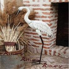 High95cm żelazne białe wysokie dźwigi wodne ozdoby, odpinane, ogrodowa dekoracja willi parapetówkę prezenty zwierząt ozdoba ogrodowa