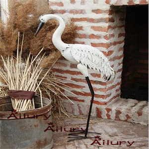 Image 1 - High95cm iron white tall cranes waterfowl ornaments,detachable,garden villa decoration housewarming gifts animal garden ornament