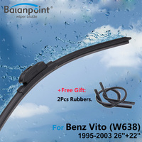 2Pcs Wiper Blades + 2Pcs Soft Rubbers for Mercedes-Benz Vito (W638) 1995-2003 26\+22\Windshield Wipers Replacement