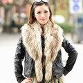 Outono e inverno das mulheres grande gola de pele de raposa pele de guaxinim pele gola de pele colar falso cachecol cachecol capa xale 150 cm