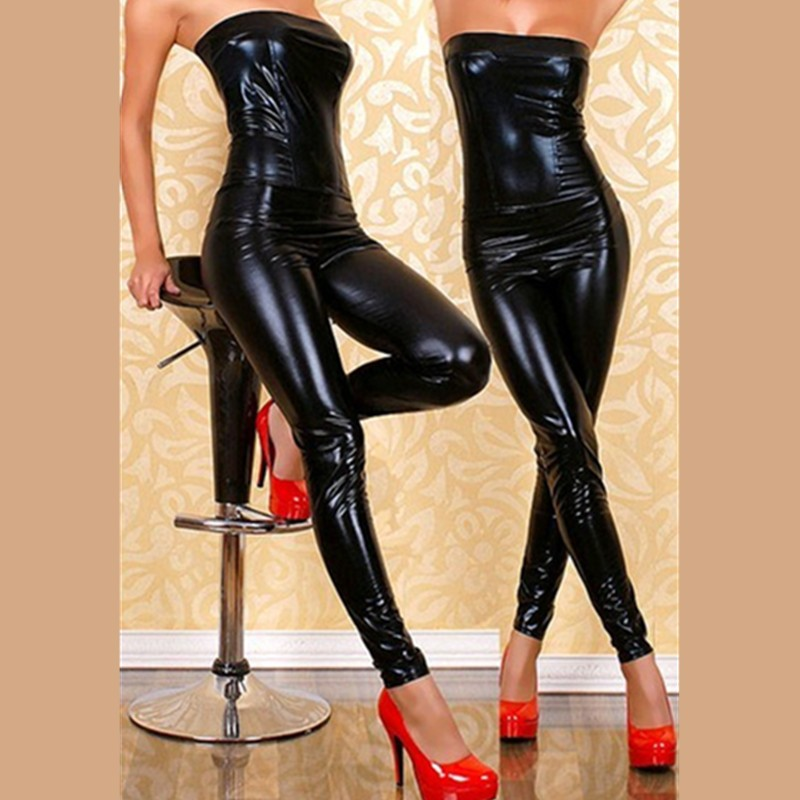 New Arrival Sexy Black Leather Latex Catsuit Strapless Bondage Bodysuit Wetlook Clubwear Jumpsuit Ladygaga Pole Dance Clothes