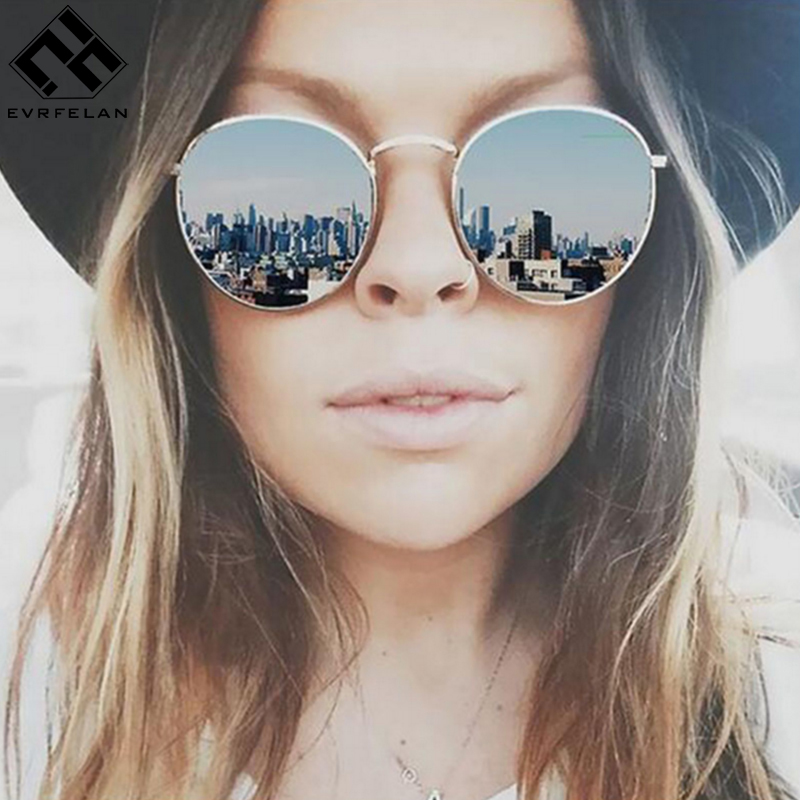 Evrfelan Fashion Colorful Round Sunglasses Women Luxury Metal Sunglasses Summer Outdoor UV400 Eyewear Female zonnebril dames luxury brand women sunglasses 2015 anti uv uv400 fashion sunglasses women classic circle sunglasses female