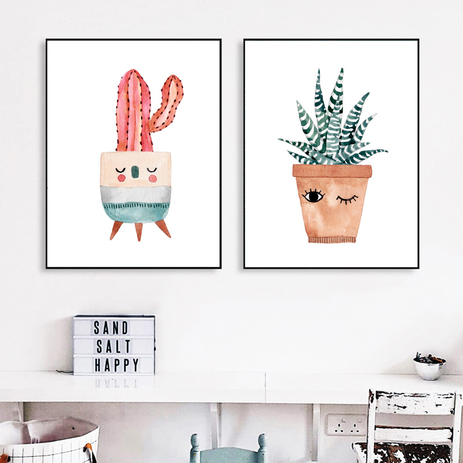 Watercolor Cartoon Potted Cactus Flower Wall Art Canvas Painting Nordic Posters And Prints Wall Pictures Kids Room Wall Decor