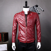 Red Faux Leather Jacket Men 2017 Autumn Winter Mens Suede Windbreaker Motorcycle Hip Hop Slim Fit Male Leather Jacket Coat Man