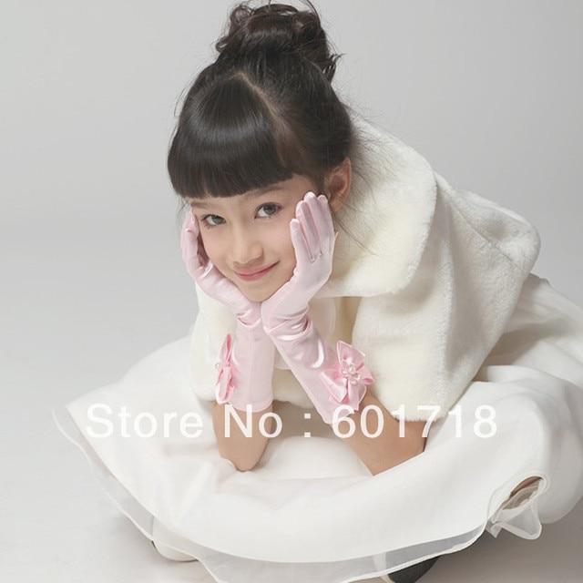 Princess Dress Satin Bow Wedding Gloves Long Flower Girl Design