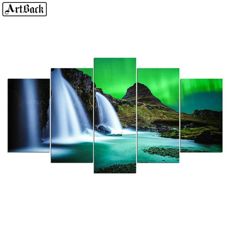 5 sort diamant peinture cascade paysage autocollant plein carré forage 3d diamant mosaïque point de croix art décoration de la maison