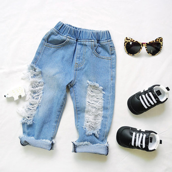 weLaken Fashion Boys Girls Big Hole Jeans Summer Apparel Good Quality Children's Trouser Kids Denim Pants Outerwear Clothes 1