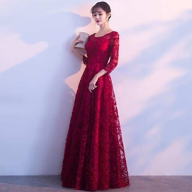 PotN'Patio Red Lace Evening Dresses Elegant O-neck quarter Sleeve A-line  Long Formal Evening Gown Plus Size