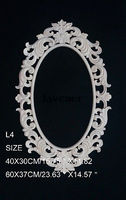 L4 40x30cm Wood Carved Round Onlay Applique Unpainted Frame Door Decal Working Carpenter Mirror Decoration