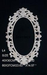 L4-48x30 см деревянная резная круглая Onlay аппликация Неокрашенная рама, дверь наклейка рабочий плотник зеркало украшение