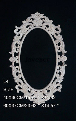 L4 -48x30cm Wood Carved Round Onlay Applique Unpainted Frame Door Decal Working Carpenter Mirror Decoration