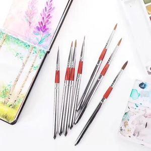 Image 3 - Barteen 7 peças de metal bolso gancho linha aquarela caneta unha ilustração mão conta portátil destacável escova
