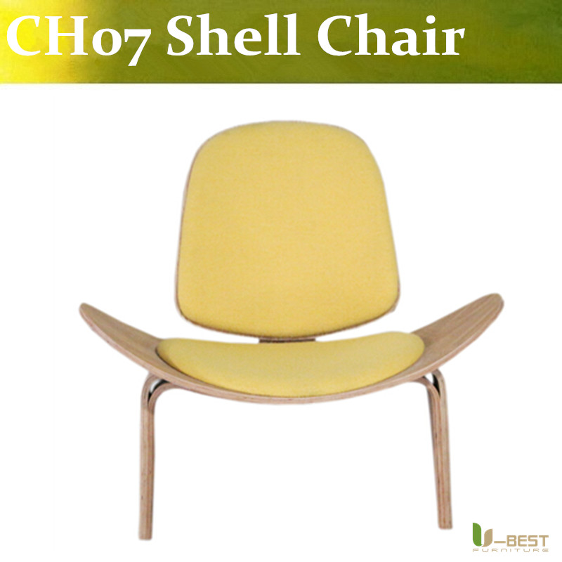 Free shipping U-best New design wooden legs modern chaise lounge living room chairs furniture,CH07 shell chair free shipping three legged shell chair
