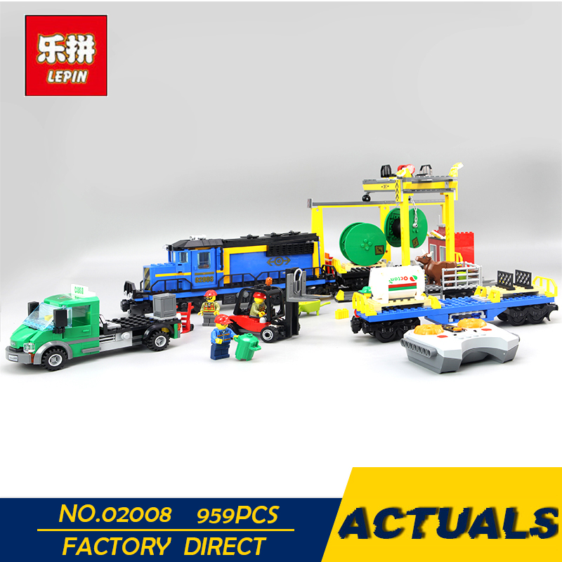 LEPIN 02008 959Pcs City Series The Cargo Train Set 60052 Model RC Building Blocks Bricks Toys for Children ynynoo lepin 02043 stucke city series airport terminal modell bausteine set ziegel spielzeug fur kinder geschenk junge spielzeug