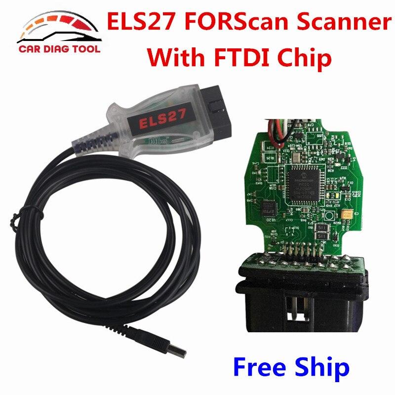 imágenes para 2017 Más Reciente ELS27 FORScan ELS 27 Chip FTDI USB Escáner de Código de Diagnóstico Del Escáner OBD2 Cable Para Ford/Mazda Mejor que ELM327