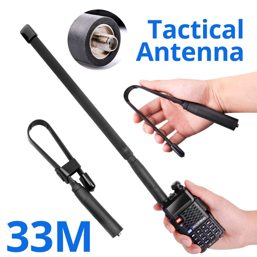 Walkie Talkie Flat Antenna SMA-F Foldable Tactical Gain Antenna UV 5R UHF VHF Radio For Baofeng 888S UV-82 Two Way Range Extend