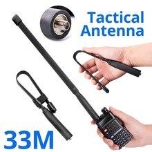 Walkie Talkie płaska antena SMA F składana antena taktyczna zysk UV 5R UHF radio vhf dla Baofeng 888S UV 82 dwukierunkowy zasięg