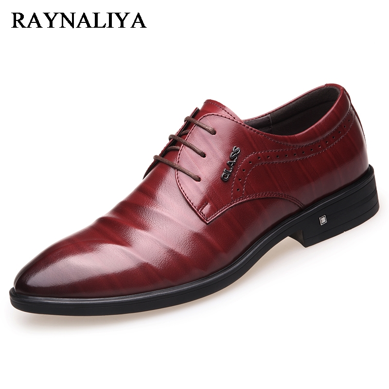 Big Size Men Dress Shoes Genuine Cow Leather Solid Lace-up Flats Pointed Toe Fashion Mens Shoes Formal BH-B0028 new brand designer formal men dress shoes lace up business party oxfords shoes for men pointed toe brogues men s flats plus size