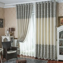 FYFUYOUFY cortina chenilla jacquard de rayas de estilo Europeo salón personalización Sombreado cortina de tela de cortina de Alta calidad
