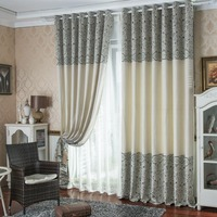 FYFUYOUFY European style chenille striped jacquard curtain living room Shading cloth curtain High quality curtain customization