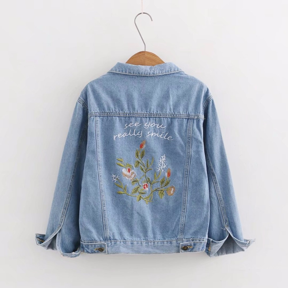 2018 Floral Embroidery Denim   Jackets   Women Embroidered Jeans Coat for Women 2018 Spring Autumn   Basic     Jackets   JH165
